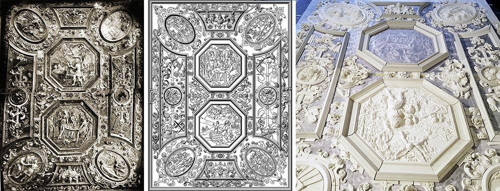 Zusammengesetzte Fotos, CAD-Plan und erste Teile der frisch rekonstruierten Stuckdecke