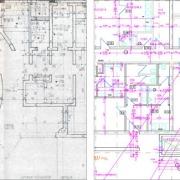 Papiervorlage Plan Architektur zu CAD vektorisiert