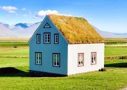Wellblech Architektur Haus mit Grasdach auf Island