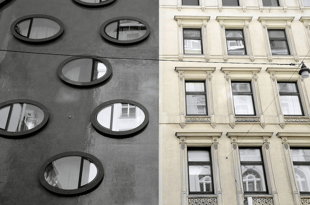 Wien, Fassade. Foto von Ulrike Liebig, Architektin. Mitarbeiterportrait von einszueins die Ingenieure für digitale Pläne.